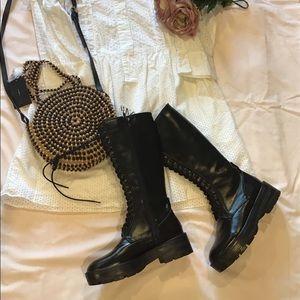 Zara black high shaft combat boots